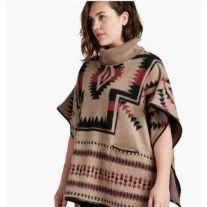 Lucky Brand Boho Poncho Aztec Turtleneck